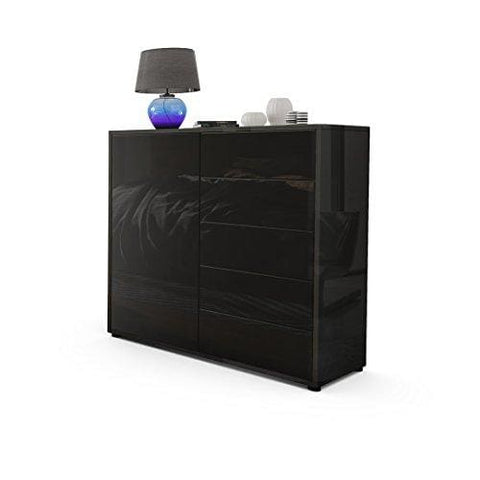 Vladon Cabinet Chest Of Drawers Ben V2 Carcass In Black High Gloss/front In Black High Gloss