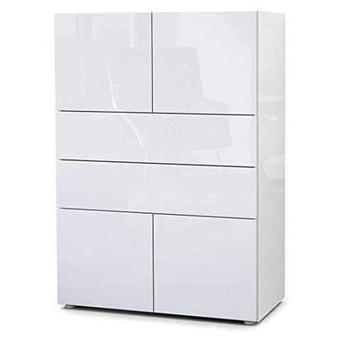 Vladon Chest Drawers Cabinet Massa V2 Carcass In White High Gloss/front In White High Gloss