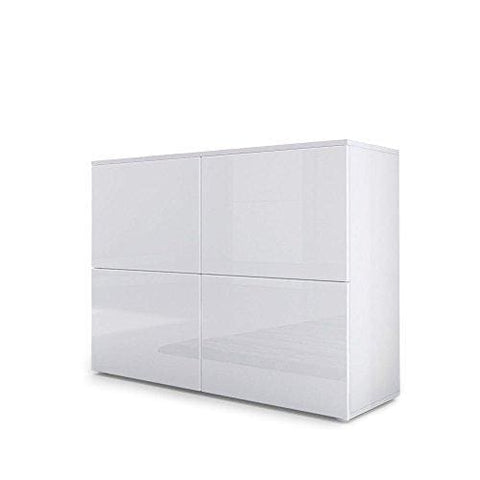 Vladon Chest Drawers Cabinet Rova Carcass In White Matt/doors In White High Gloss White High Gloss