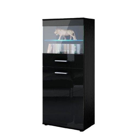 Vladon Tall Display Cabinet Cupboard Almada Carcass In Black Matt/front In Black High Gloss