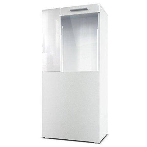 Vladon Tall Display Cabinet Cupboard Movie Carcass In White Matt/front In White Matt With Offsets In White High Gloss