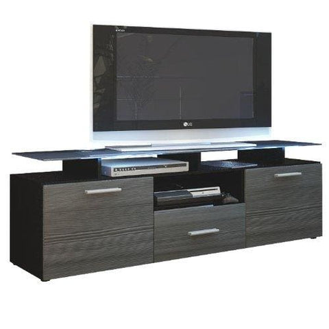 Vladon Tv Stand Unit Almada Carcass In Black Matt/front In Avola-Anthracite