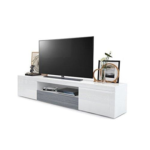 Vladon Tv Unit Stand Santiago Carcass In White High Gloss/front In White High Gloss And Avola-Anthracite