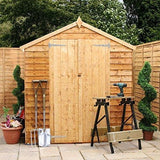 Waltons Est. 1878 10X6 Wooden Garden Storage Shed Overlap Construction Dip Treated With 10 Year Guarantee With Windows Double Door Apex Roof