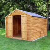 Waltons Est. 1878 10X8 Wooden Garden Storage Shed Overlap Construction Dip Treated With 10 Year Guarantee Windowless Double Door Apex Roof