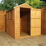 Waltons Est. 1878 6X4 Wooden Garden Storage Shed Overlap Construction Dip Treated With 10 Year Guarantee With Windows Single Door Apex Roof