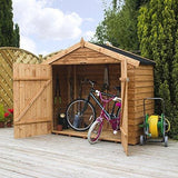 Waltons Est. 1878 7X3 Wooden Bike Shed Garden Storage Overlap Construction Dip Treated With 10 Year Guarantee Windowless Wide Double Door