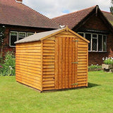 Waltons Est. 1878 8X6 Wooden Garden Storage Shed Overlap Construction Dip Treated With 10 Year Guarantee Windowless Single Door Apex Roof