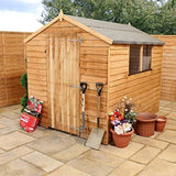Waltons Est. 1878 8X6 Wooden Garden Storage Shed Overlap Construction Dip Treated With 10 Year Guarantee With Windows Single Door Apex Roof