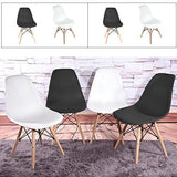 Weibo Modern Eames Dining Room Chairs Armless Plastic Seat With Wooden Legs (Set Of 4 Black)