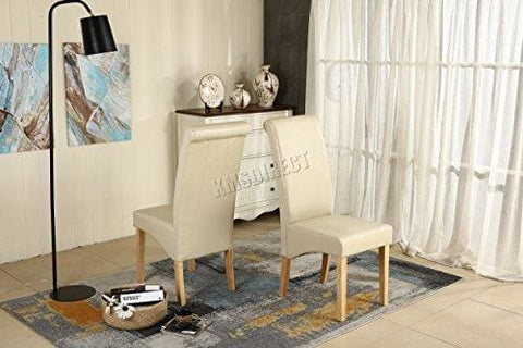 Westwood Furniture Set Of 4 Premium Cream Faux Leather Dining Chairs Roll Top Scroll High Back With Solid Wood Legs Foam Padded Seat