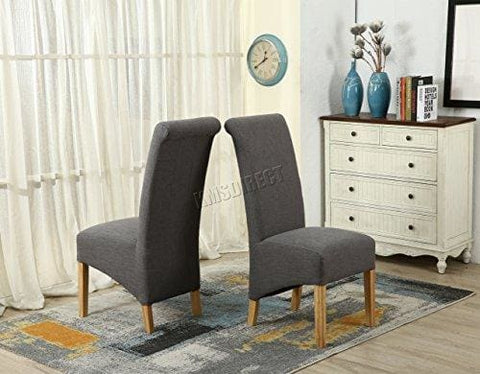 Westwood Furniture Set Of 4 Premium Grey Linen Fabric Dining Chairs Roll Top Scroll High Back Solid Wood Legs Springed Seat Contemporary