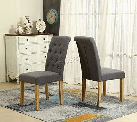 Westwood Furniture Set Of 4 Premium Grey Linen Fabric Dining Chairs Roll Top Scroll High Back With Solid Wood Legs Seat Contemporary Modern