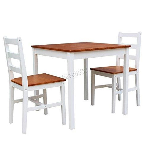 Westwood Quality Solid Pine Wood Dining Table With 2 Chairs Set Kitchen Home Breakfast Furniture White New