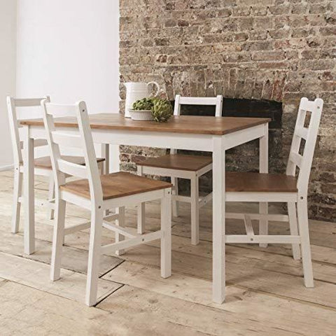 White Solid Pine Wood 3 Piece Wooden Dining Kitchen Table And 4 Chairs