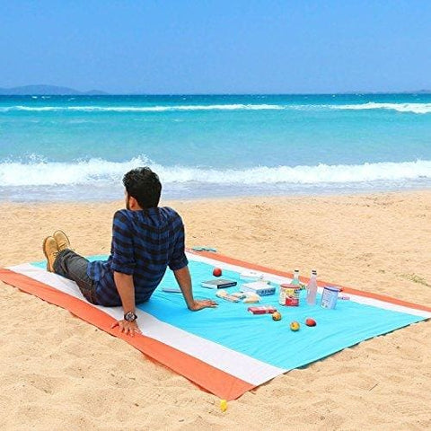Wolfwise 210 X 270 Cm Xxl Beach Picnic Blanket Extra Large Pocket Mat With Backing Oversized Portable Washable Sand Free Waterproof Blanket