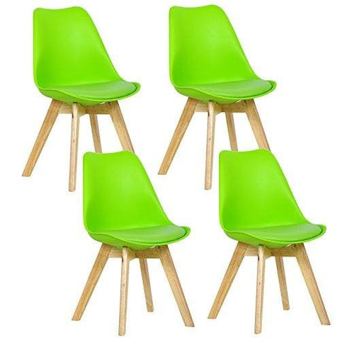 Woltu 4 X Dining Chairs Plastic And Solid Wood Breakfast Chairs Kitchen Stools With Back And Soft Padded Seat Green Bh29Gn-4