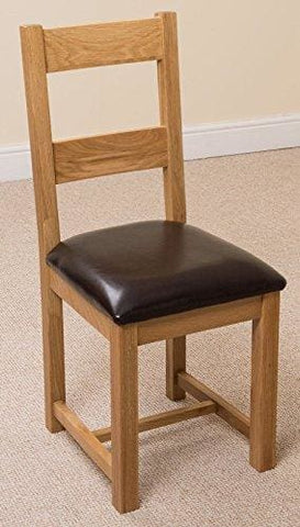 X6 Lincoln Solid Oak And Brown Leather Dining Room Chairs
