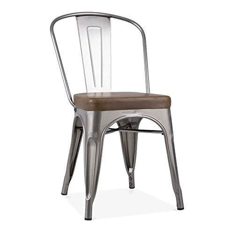 Xavier Pauchard Tolix Style Metal Side Chair Cushion Colour Option - Gunmetal Brown