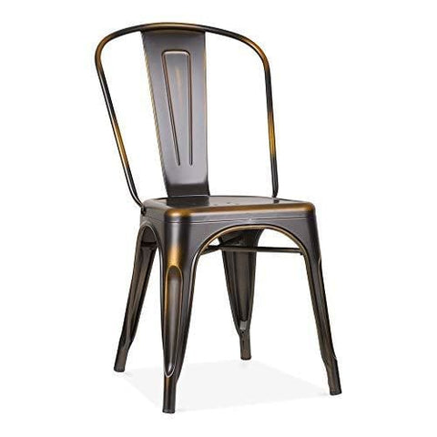 Xavier Pauchard Tolix Style Metal Side Chair - Distressed Copper