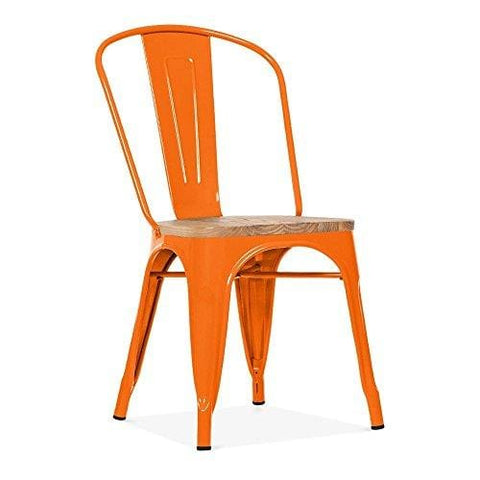 Xavier Pauchard Tolix Style Metal Side Chair Natural Wood Seat - Orange