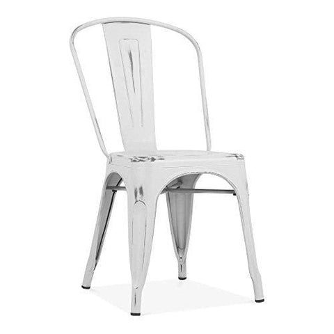Xavier Pauchard Tolix Style Metal Side Chair Vintage White