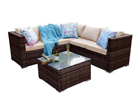 Yakoe Rattan Classical Range 5 Seater Outdoor Garden Furniture Corner Sofa Set With Rain Cover Brown Weave 30 Mm