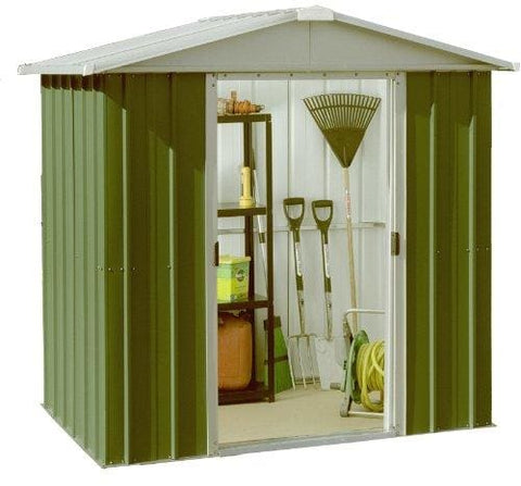 Yardmaster International 65Geyz 6 X 4Ft Deluxe Metal Shed - Green/ Silver