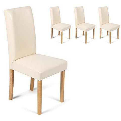 Your Price Furniture.com Set Of 4 Cream Faux Leather Torino Dining Chairs Cream With Padded Seat & Oak Finish Legs