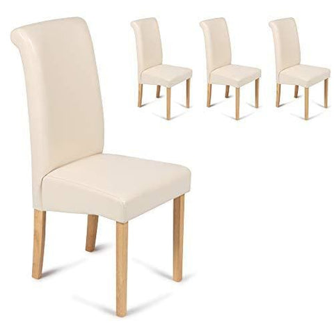 Your Price Furniture Set Of 4 Faux Leather Scroll Top Roma Dining Chairs Cream Padded Seat & Oak Finish Legs