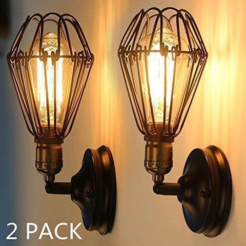 Yuenslighting Retro Loft Edison Light Rustic Vintage Cage Wall Sconce Lamp Small Birdcage Shape Modern Industrial Lamps Bronze Black