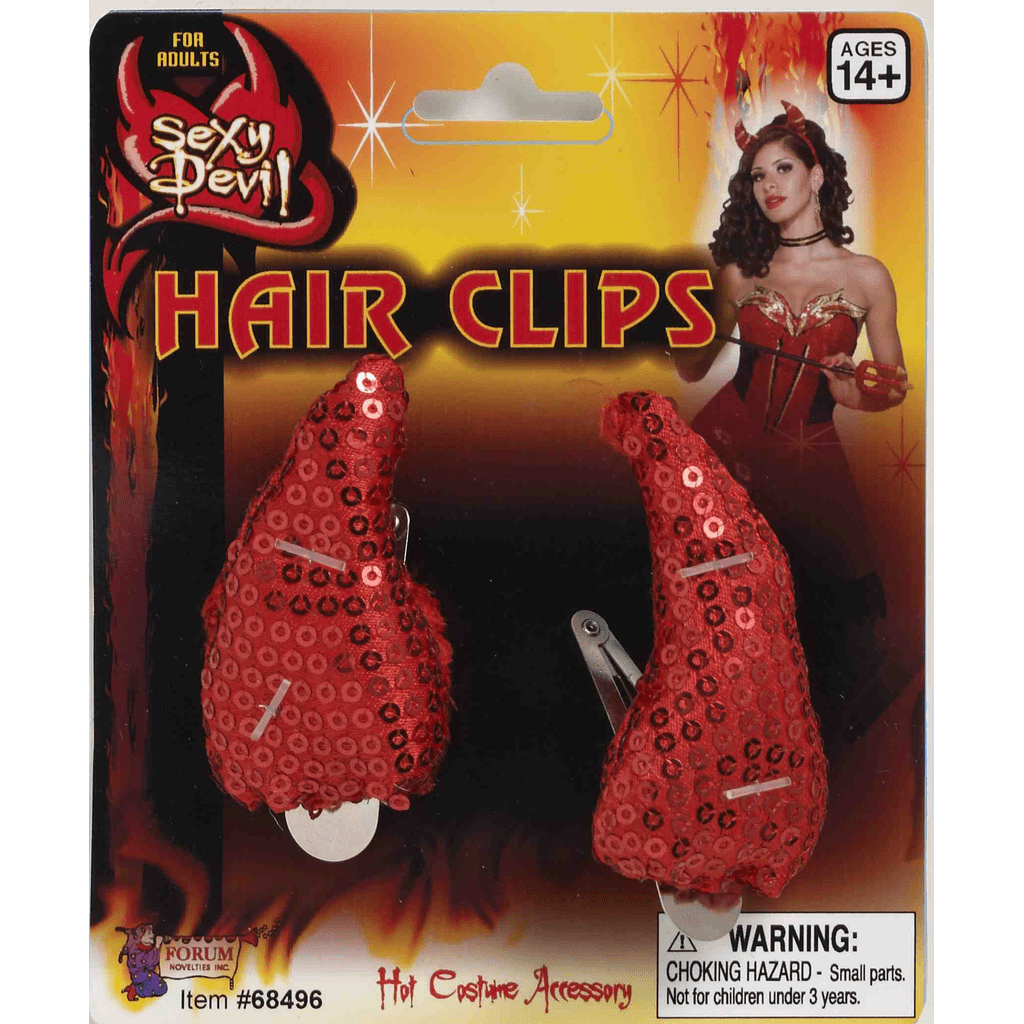 Sequin Devil Horn Hair Clips