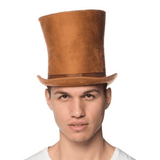 Brown Suede Curve Bell Top Hat