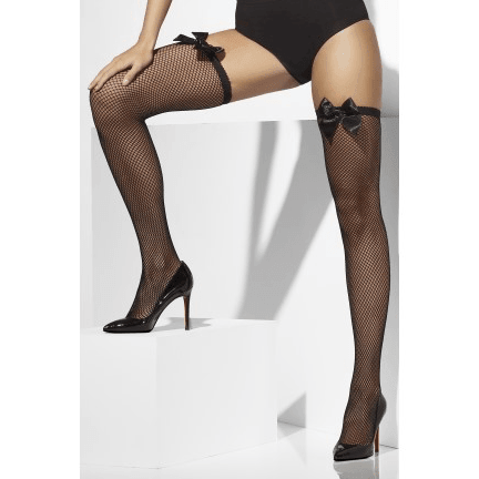 Black Fishnet Thigh Highs with Bow