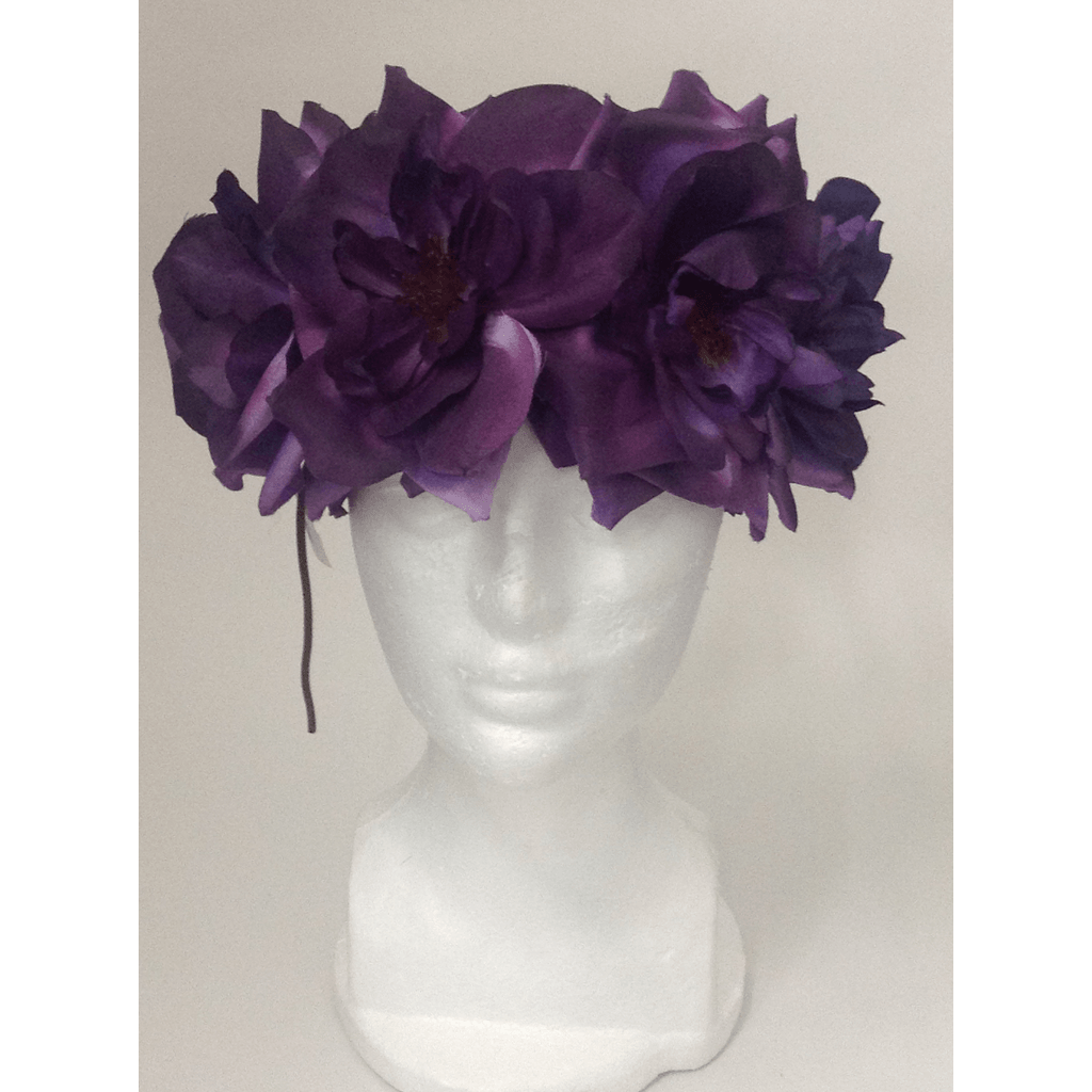 Plum XL Rose Flower Head Wrap