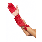 Satin Cut Out Gloves with Bow {Red}