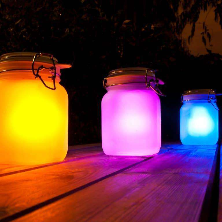 Solar Powered Sun Frosted Mason Jar