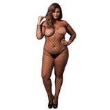 Plus Size Off the Shoulder Fence Net Body Stocking