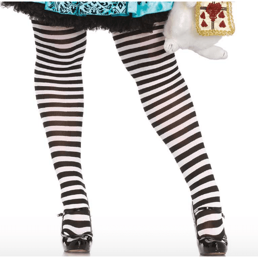 Plus Size Black and White Striped Tights