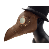 Brown Leather Plague Doctor Goggle Mask