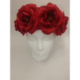 Red Medium Rose Flower Headwrap