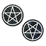 Black Glitter Pentagram Pasties