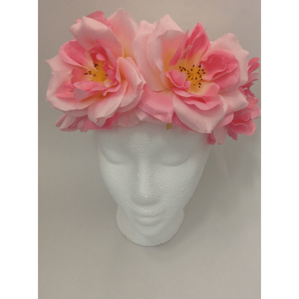 Pink XL Rose Flower Head Wrap