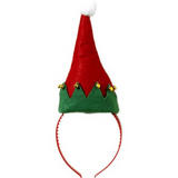 Santa Elf Hat with Bells on Headband