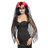Day of the Dead Headband with Veil