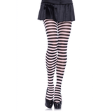 Plus Size Black and White Striped Tights (3X/4X)