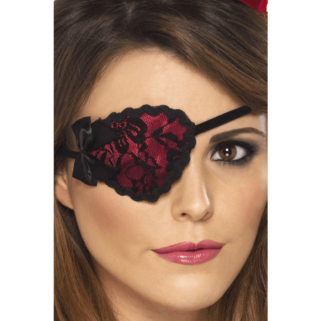 Red with Black Lace Pirate Eyepatch