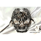 Skull Laser-Cut Metal Mask with Black Diamonds