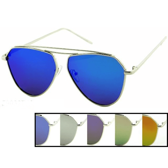Angular Aviator Sunglasses with Mirror Lens ^