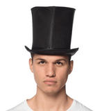 Black Satin Curve Bell Top Hat
